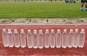 アジアカップ 宮間が書いたペットボトル